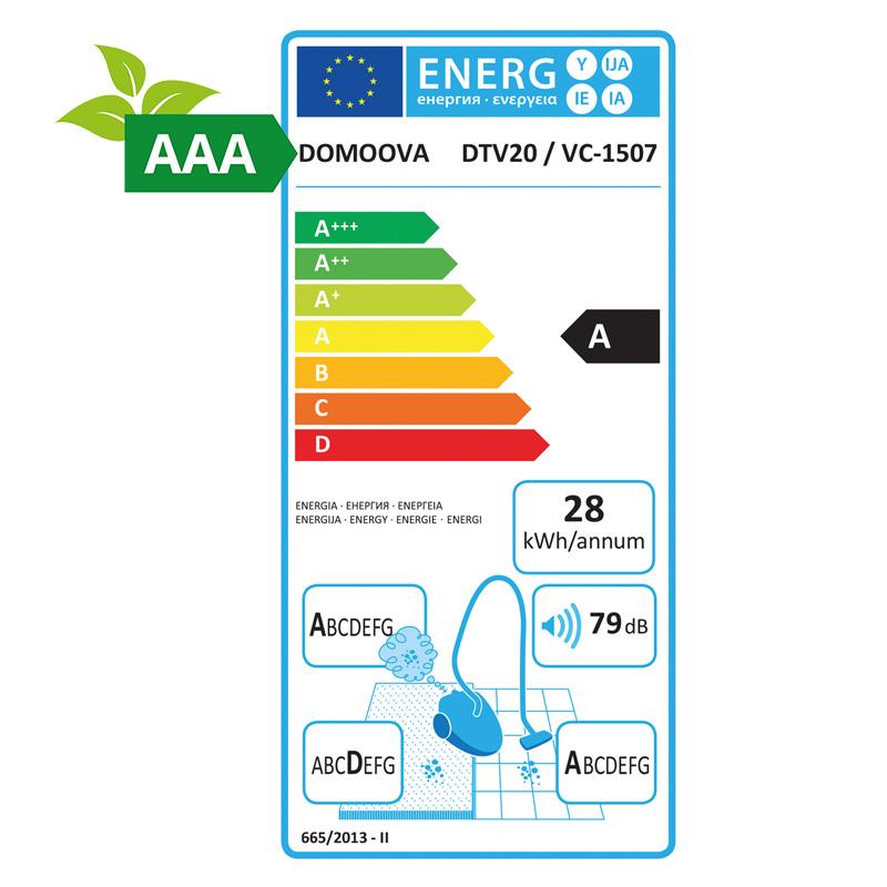 Carte energetique aspirateur traineau DOMOOVA DTV20